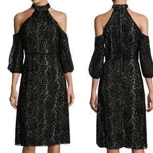 Alice + Olivia Black Ruthann Velvet Midi Dress 10